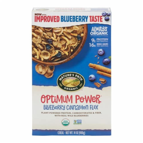 Nature's Path Organic Optimum Power Blueberry Cinnamon Flax Cereal Perspective: front