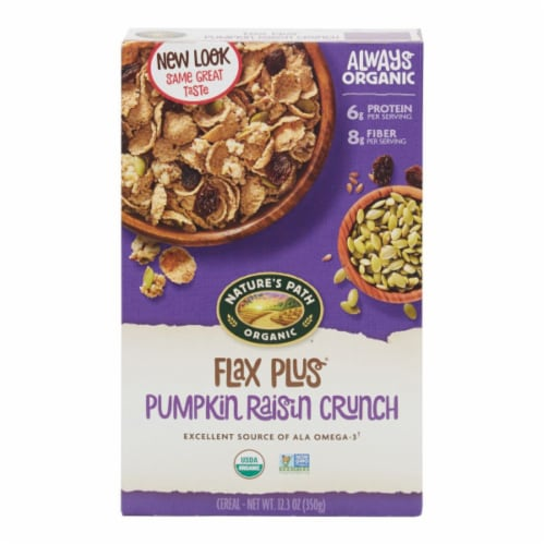 Nature's Path Organic Flax Plus Pumpkin Raisin Crunch Cereal Perspective: front