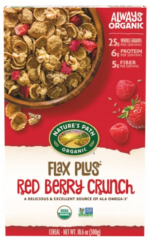 Nature's Path Organic Flax Plus Red Berry Crunch Cereal Perspective: front
