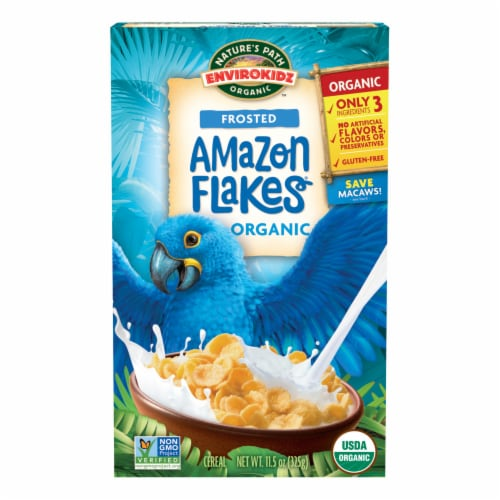 Nature's Path Organic Gluten Free Envirokidz Lightly Frosted Amazon Flakes Cereal Perspective: front