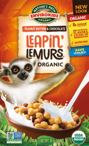 Nature's Path Organic EnviroKidz Peanut Butter & Chocolate Leapin' Lemurs Cereal Perspective: front