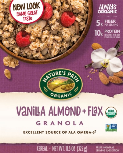 Nature's Path Organic Vanilla Almond and Flax Granola Cereal Perspective: front