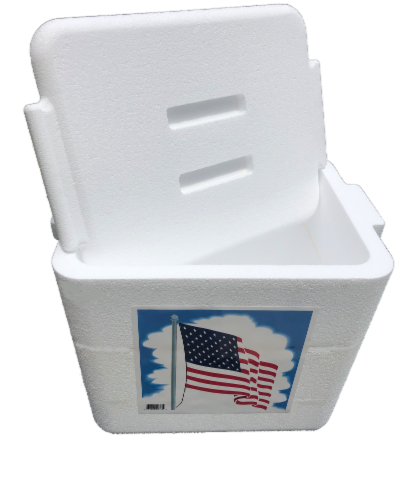 Cryopak American Flag Foam Cooler Perspective: front