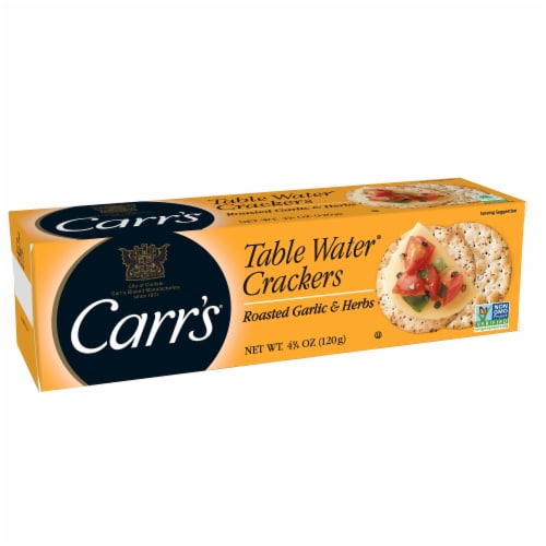 Carr's Roasted Garlic and Herbs Table Water Crackers Perspective: front