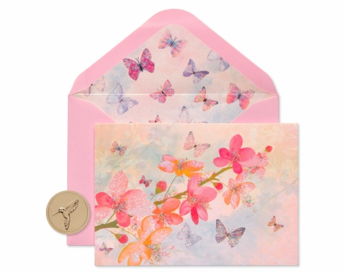 Papyrus Scattered Blossoms with Glitter Boxed Blank Note Cards Perspective: front