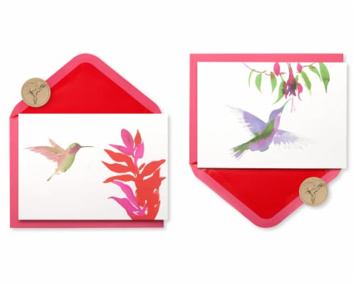 Papyrus Watercolor Hummingbirds Keepsake Boxed Blank Cards Perspective: front