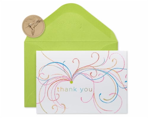 Papyrus Swirl with Glitter Thank You Boxed Blank Note Cards Perspective: front