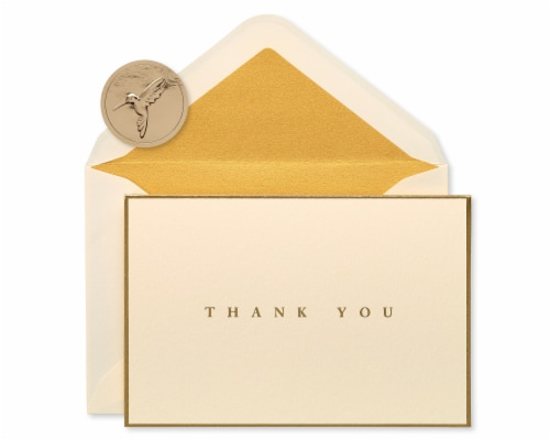 Papyrus Gold Border Thank You Boxed Blank Note Cards Perspective: front