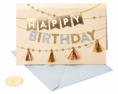 Papyrus Happy Birthday Card (Metallic Banner) Perspective: front