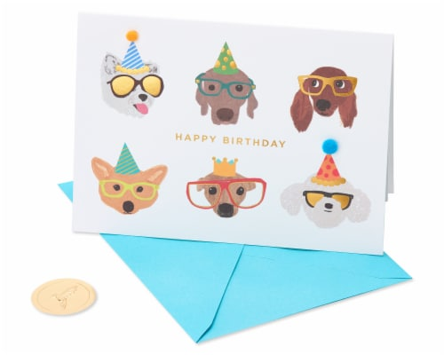 Papyrus Birthday Card (Dogs with Glasses) Perspective: front
