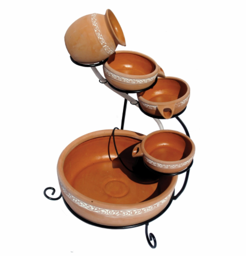 Koolscape 5-Tier Solar-Powered Cascading Fountain - Natural Terracotta Perspective: front