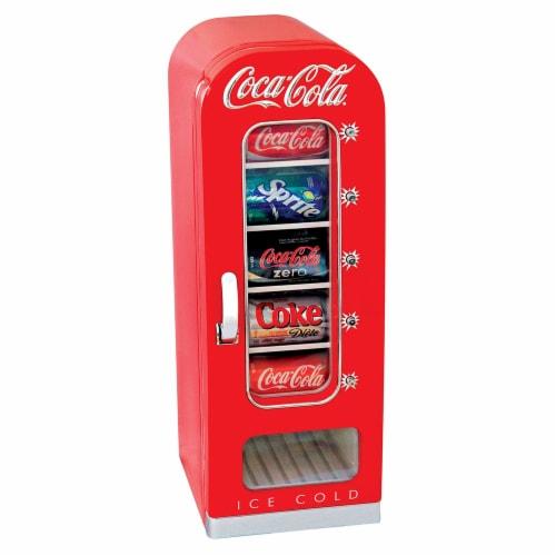 Koolatron Coca-Cola Official Design Push Button Vending Machine Mini Fridge Perspective: front