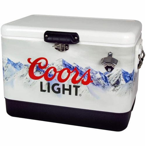 Koolatron 54 Quart Coors Light Portable Ice Chest Hard Cooler with Bottle Opener Perspective: front