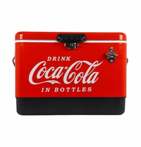 Koolatron Coca-Cola Ice Chest Cooler with Bottle Opener Perspective: front