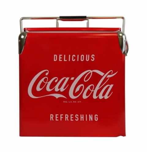 Koolatron Coca-Cola Retro Ice Chest Cooler with Bottle Opener Perspective: front