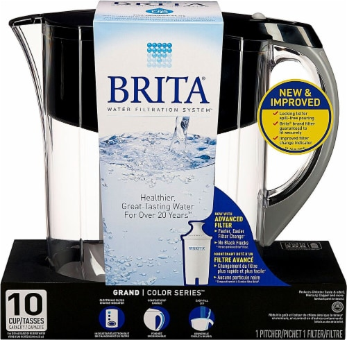 Brita Grand Water Filter and Pitcher - Black Perspective: front