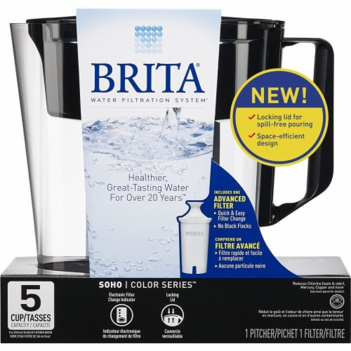 Brita Soho Water Filter and Pitcher - Black Perspective: front