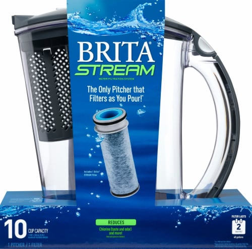 Brita Stream Water Filtration System Pitcher - Carbon Gray Perspective: front