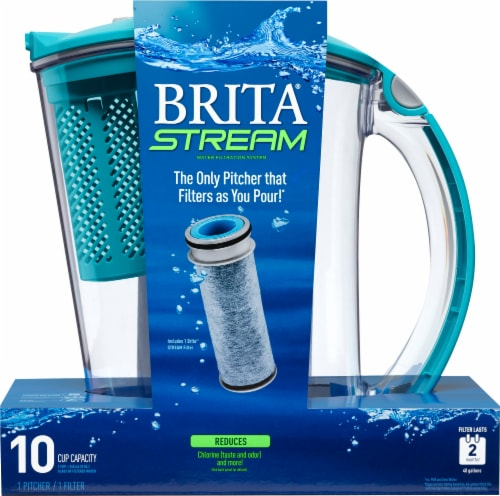 Brita 10 Cup Stream Rapids Filtered Water Pitcher - Blue Perspective: front