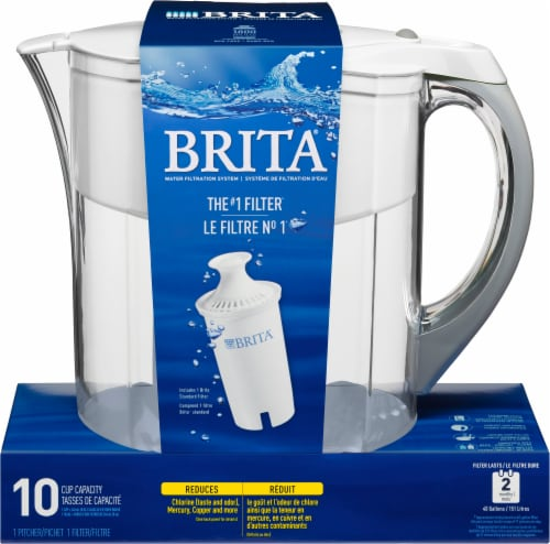 Brita Grand Water Filtration Pitcher - White Perspective: front