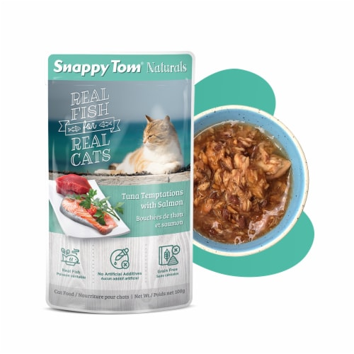 Snappy Tom Naturals Tuna Temptations with Salmon 3.5oz (12 Pack) Perspective: front