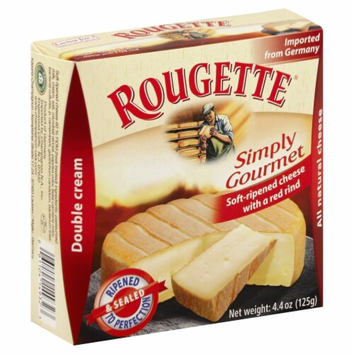 Rougette Simply Gourmet Soft-Ripened Double Cream Cheese with a Red Rind Perspective: front