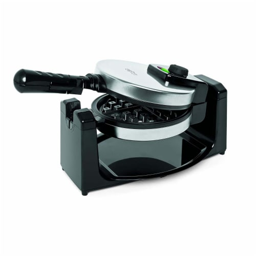 Salton WM1082 Countertop Rotary Belgian Waffle Maker, Stainless Steel/Black Perspective: front