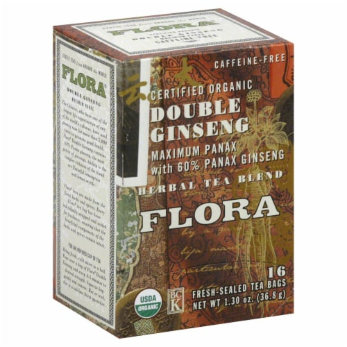 Flora Organic Double Ginseng Herbal Tea Bags Perspective: front