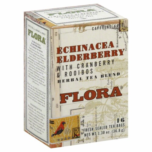 Flora Echinacea Elderberry with Cranberry and Rooibos Herbal Tea Blend 16 Count Perspective: front