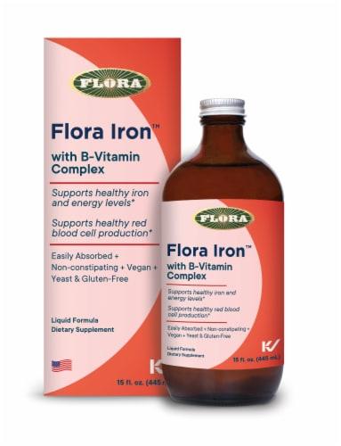 Flora Iron with B-Vitamin Complex Liquid Formula Perspective: front