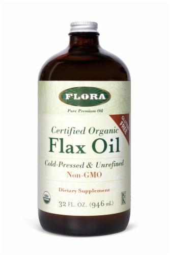 Flora Premium Pure Organic  Cold-Pressed & Unrefined Flax Oil Perspective: front