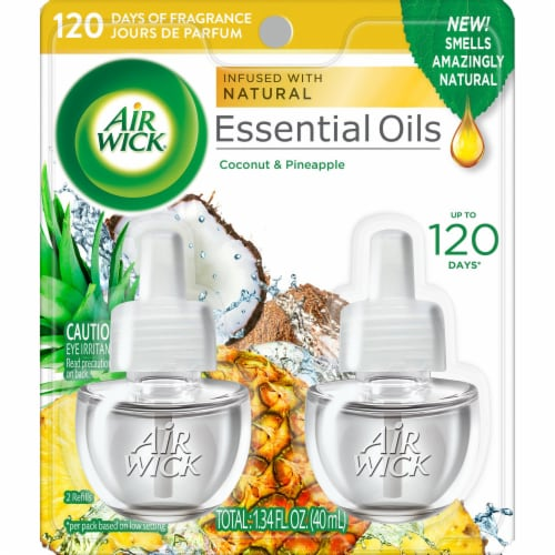 Air Wick Essential Oils Coconut & Pineapple Refills Perspective: front