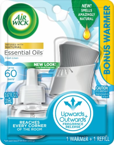 Air Wick Fresh Linen Warmer and Oil Refill Perspective: front