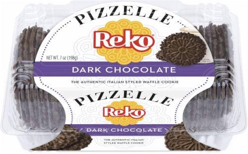 Reko Pizzelle Dark Chocolate Cookies Perspective: front