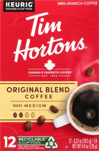 Tim Horton's Medium Roast Original Blend Coffee K-Cup Pods 12 Count Perspective: front