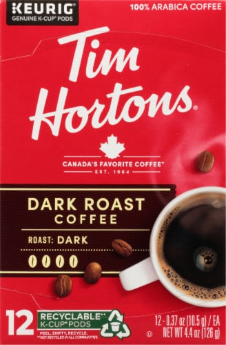 Tim Horton Dark Roast Coffee K-Cup Pods Perspective: front