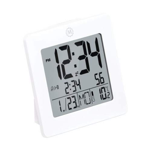 Marathon Digital Desktop Clock - White Perspective: front