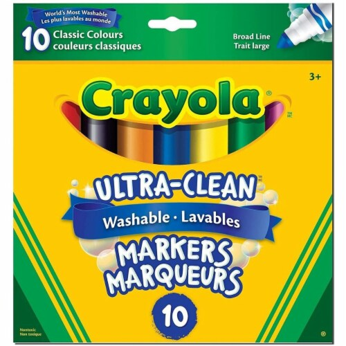 Crayola Ultra-Clean Washable Markers - 10 Classic Colours Perspective: front