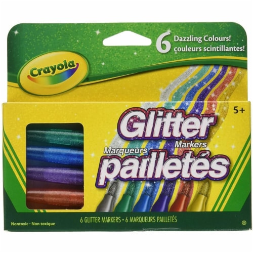 Crayola Glitter Markers, 6-Count Perspective: front