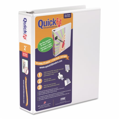 Stride Quickfit D-Ring View Binder, 3 Rings, 2  Capacity, 11 X 8.5, White 87030 Perspective: front