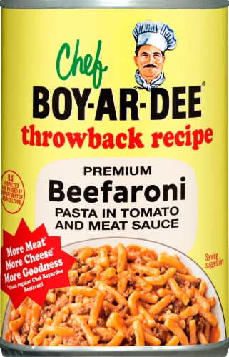 Chef Boyardee Throwback Recipe Premium Beefaroni Perspective: front