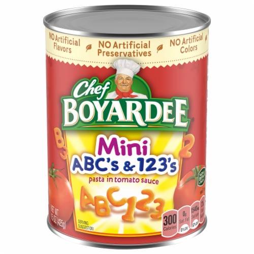 Chef Boyardee Mini ABC's & 123's Pasta in Tomato & Cheese Sauce Perspective: front