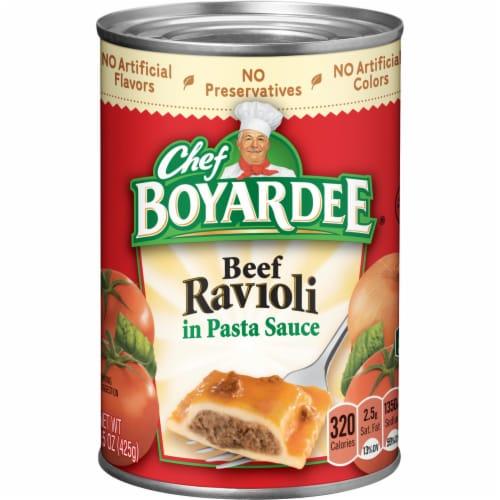 Chef Boyardee Beef Ravioli in Pasta Sauce Perspective: front