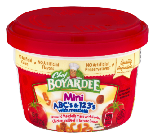Chef Boyardee Mini ABC's & 123's with Meatballs Microwavable Cup Perspective: front