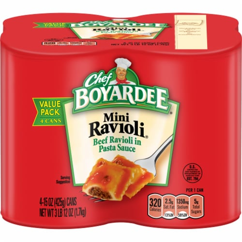 Chef Boyardee Mini Ravioli 4 Count Perspective: front