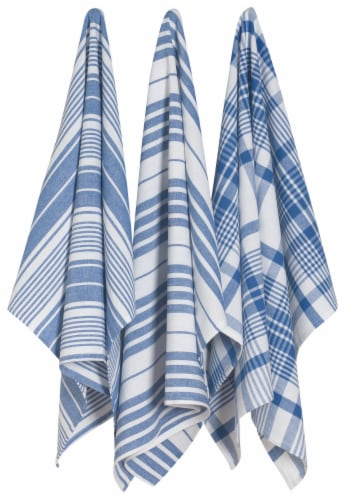 Now Designs Extra Large Wovern Cotton Kitchen Dish Towels Royal Blue Set of 3 Perspective: front