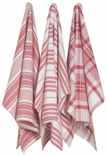 Now Designs Extra Large Red Wovern Cotton Kitchen Dish Towels Perspective: front