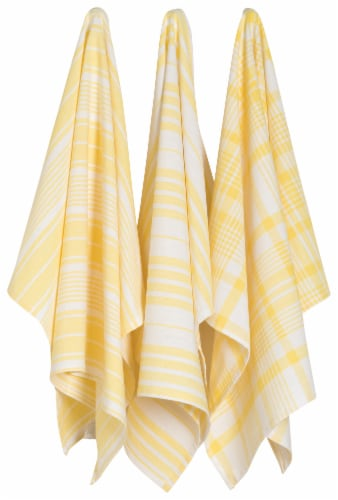 Now Designs Extra Large Wovern Cotton Kitchen Dish Towels Lemon Yellow Set of 3 Perspective: front
