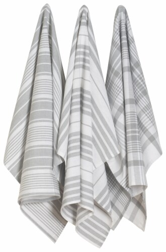 Now Designs Extra Large Wovern Cotton Kitchen Dish Towels London Gray Set of 3 Perspective: front