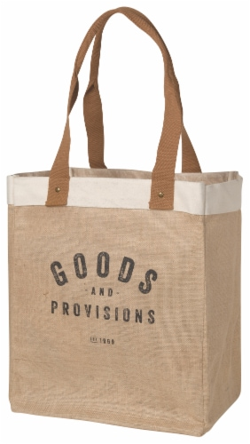 Now Designs Market Tote Jute Grocery Bag Goods and Provisions 13.5x17x8.5 inch Perspective: front